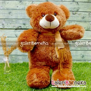 Boneka Teddy Bear Syal Dark Brown