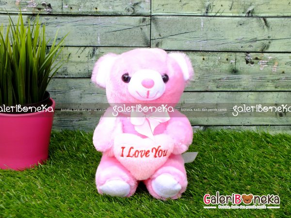 Boneka Teddy Bear Love Pink Kecil